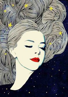 Girl enveloped by the night, illustration