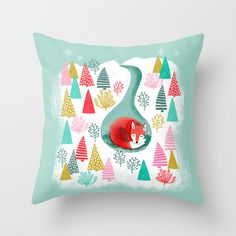 Winter's Fox by Andrea Lauren #society6 #pillow