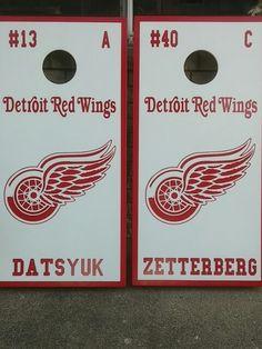 Detroit Red Wings custom cornhole boards by MotorCityCornhole.com
