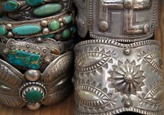 gregthorneturquoise:  Turquoise bracelets by Greg Thorne at the summer Sawdust Festival.