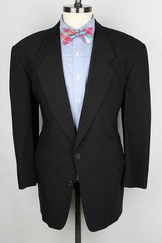 ARMANI COLLEZIONI Black VTG Wool 42 S mens Suit #ArmaniCollezioni #TwoButton