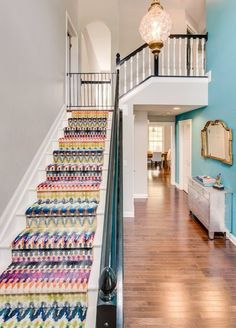 """An """"Overwhelmingly Gray"""" House Gets A Colorful Revamp — Professional Project (Apartment Therapy Main) Apartment Therapy, Staircase Runner, Stair Runners, Grey Houses, Transitional House, Best Carpet, Carpet Design, Home And Deco, Interiores Design"""