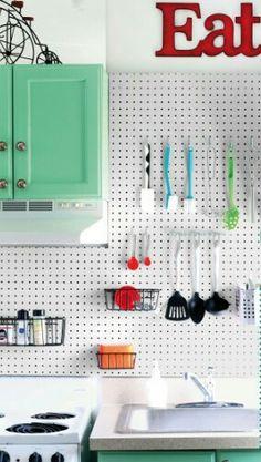 Budget Backsplash Project: Pegboard Storage   Home improvements, Kitchen  pegboard and Splash