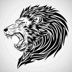 Kinjenk Studio: Black And White Head Lion Tattoo