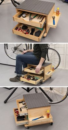 Rolling Work Seat and Tool Storage Cart - wood .-Rolling Work Seat and Tool Storage Cart – wood working plans Rolling Work Seat and Tool Storage Cart - Garage Tool Storage, Workshop Storage, Garage Tools, Workshop Ideas, Workshop Design, Wood Workshop, Lumber Storage, Wood Storage, Woodshop Tools