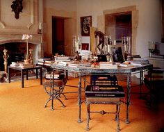 Salon at Le Jonchet, country home of Hubert Givenchy, with a table designed by Diego Giocometti. Interior Architecture, Interior And Exterior, Octagon Table, Beautiful Interiors, French Interiors, Interior Decorating, Interior Design, Traditional Interior, Decoration