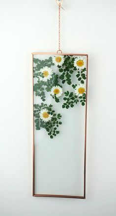 4 x 11 Copper Double Glass Pressed white Daisies Diy Wall Decor, Art Decor, Deco Nature, Pressed Flower Art, Flower Frame, Double Glass, Resin Crafts, Flower Crafts, Dried Flowers
