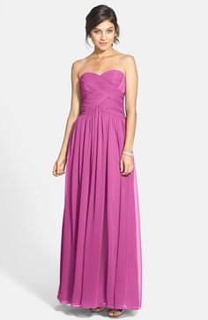 JS Boutique Strapless Ruched Chiffon Gown I like the fuschia and navy best