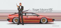RIP Roger Moore - Good Innings Car tear down - youtu.be/fbvhkAORKcc Roger Moore Lotus James Bond Movie Posters, James Bond Movies, James Bond Cars, Lotus Esprit, Lotus Car, Roger Moore, Carroll Shelby, Aston Martin, Custom Cars