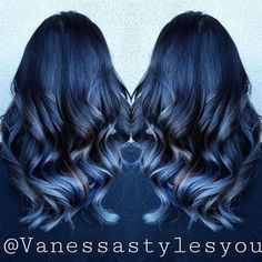 Blue color melt by @hairbyvanessa Love the dark blue melting into lighter blues with just a hint of blonde. hotonbeauty.com