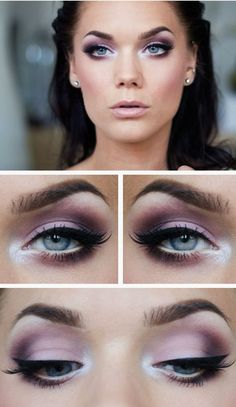 Smokey Eyes in purple tones and eyeliner for blue . Smokey eyes in purple tones and eyeliner for blue eyes Purple Eye Makeup, Eye Makeup Tips, Makeup For Brown Eyes, Makeup Ideas, Face Makeup, Purple Wedding Makeup, Makeup Tools, Beauty Makeup, Cheek Makeup