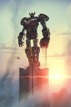 Go Go Power Rangers. Haven't watched it since I was a kid but this fan art is AWESOME. Power Rangers Megazord, Go Go Power Rangers, Robot Illustration, Illustrations, Cyberpunk, Transformers, Pawer Rangers, Stormtrooper, Steampunk