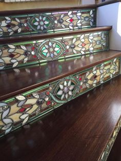 Trendy Stair Risers Stained glass adds warmth and neutral colors.Stained glass adds warmth and neutral colors. Stained Glass Projects, Stained Glass Patterns, Stained Glass Art, Stained Glass Windows, Leaded Glass, Stained Glass Cabinets, Beveled Glass, Mosaic Art, Mosaic Glass