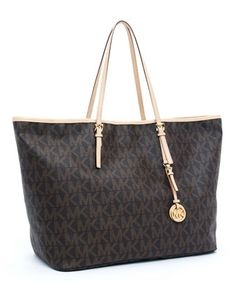 MICHAEL Michael Kors Jet Set Travel Logo Travel Tote Brown : your title, your description$68.95