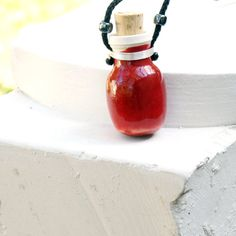AROMATHERAPY DIFFUSER LOCKET, diffuser jewelry, essential oil diffuser necklace, diffuser locket, Wearable Clay, red pendant