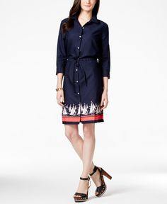 Tommy Hilfiger Belted Shirt Dress, sailboat Print