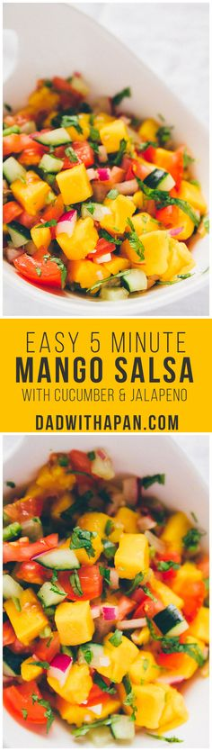 Easy Cucumber Mango Salsa with cucumber, jalapeno, mango and other veggies. Sweet with spicy that'll make a great topping to any dish! Healthy Snacks, Healthy Eating, Healthy Recipes, Veggie Recipes, Snack Recipes, Hummus, Mango Salsa Recipes, Dips, Fruits And Veggies