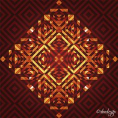Square Sun 3 - Warm Print by ©ifourdezign Inspired by geometric artist - Andy Gilmore #DigitalArt #Symmetry #AbstractArt #Geometry #Patterns #textiles #FineArtAmerica (Please retain ALL credit -TY)