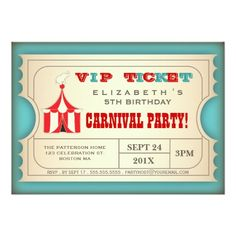 A good old fashioned circus carnival with vintage styling, this fun design in the form of a VIP Admission ticket, features a cute elephant atop the big top circus tent, in a trendy red and turquoise color scheme and contains all the event info in an easy to customize format. A great way to build the excitement of your guests as they anticipate the carnival or circus themed birthday celebration that's planned for your son or daughter!