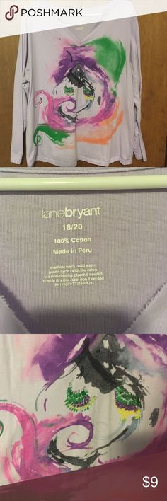 Lane Bryant Lavender Color Splash Top Pure fun. Top has base of lavender, with a design of purple, green, pink, black, gray and sequins. Washed and worn with plenty of life left! Smoke free home. Lane Bryant Tops Tees - Long Sleeve