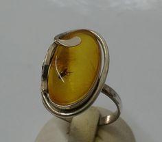 Antiker Ring Silber 800 Bernstein Einschluss SR606