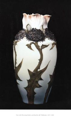 Rörstrand porcelain - Vase with blooming thistles, attributed to Alf Wallander, 1897-1900.
