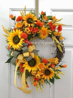 Elegant One of a Kind Wreaths for All Seasons by JansElegantWreaths Thanksgiving Wreaths, Autumn Wreaths, Christmas Wreaths, Wreath Fall, Spring Wreaths, Wreath Crafts, Diy Wreath, Grapevine Wreath, Wreaths For Front Door