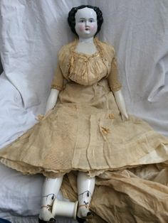 """Antique 31"""" China Head Doll - Flat Top Head - Mary Todd Lincoln? W/ Gown, Etc."""