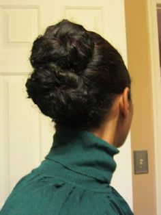 banana clip double bun: my hair is the right length for this! good thing mm still had my old banana clips!