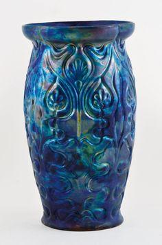A blue eosin-glazed Zsolnay vase, circa 1910.