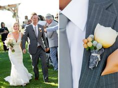 lace wedding gown with lace sleeves + grey pinstripe suit - cameron ingalls photography