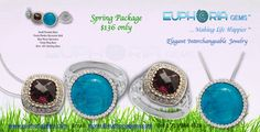 Spring Package - 2 Interchangeable Euphoria Gems Xpressions, 1 Fiesta Ring Base & 1 Small pendant base - 4 Looks for $ 136 only!