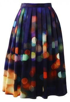 Neon Light Pleated Midi Skirt