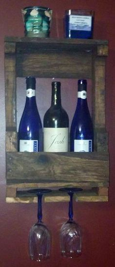 Wine Rack, handmade, upcycled refurbished wood, 3 bottle capacity, Wine Lover gift, Home & Living Palletium by Palletium on Etsy