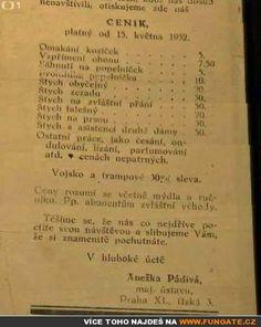 Ceník z nevěstince – rok 1932