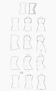Human Figure Drawing Reference Drawing a feminine body starting with a rectangular / diamond shape Human Figure Drawing, Figure Drawing Reference, Body Drawing, Body Reference, Anatomy Drawing, Anatomy Reference, Female Drawing, Manga Drawing, Design Reference