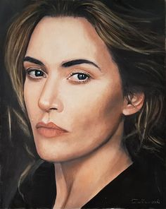 Kate Winslet oil portrait artist Tomasz Mrowiński Poland #Portret olejny Oil Portrait, Kate Winslet, Red Roses, Poland, Actresses, Drawings, Artist, Painting, Beauty