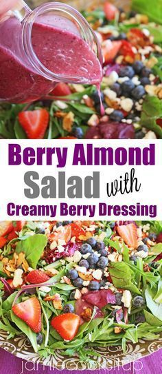 Berry Almond Salad with Creamy Berry Dressing Jamie Cooks It Up! The perfect salad for spring and summer!