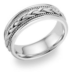 applesofgold.com - Platinum Braided Wedding Band Ring
