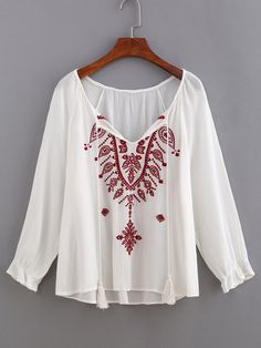 Embroidery Tassel-Tie Neck Blouse