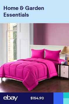 c5883a38df7a Tache 3 4 PC Cotton Solid Bright Hot Pink Box Stitched Reversible Comforter  Set