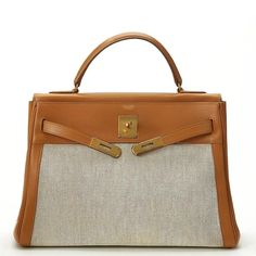 a827e507dcb0 1950s Hermes Tan Leather and Canvas Vintage Kelly Retourne 32