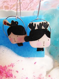Mademoiselles Handmade Painted Jewellery by Mademoisellesgr Cactus Earrings, Etsy Seller, Bubbles, Snoopy, Hand Painted, Christmas Ornaments, Holiday Decor, Creative, Handmade