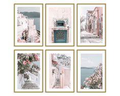 dorm room ideas for girls room teen bedroom designs pastel home decor photo collage wall kit Contemporary Wall Art, Modern Art Prints, Canvas Art Prints, Travel Gallery Wall, Travel Wall Art, Pink Wall Art, Wall Art Sets, Santorini, Larger