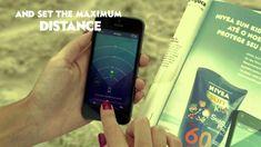 Nivea Protégé Sunscreen anuncio con Location pulsera interactúa con una aplicación