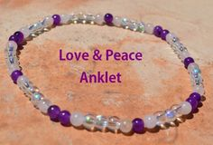 Love and Peace Anklet Amethyst Rose Quartz. by CrystalMeB on Etsy