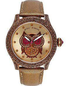 OWL FACE METALLIC BAND WATCH