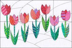 Pop-art tulipány - My site Name Art Projects, Spring Art Projects, Saint Patricks Day Art, Paul Klee Art, Pop Art Drawing, Outline Designs, Jr Art, Elements Of Art, Art Lesson Plans