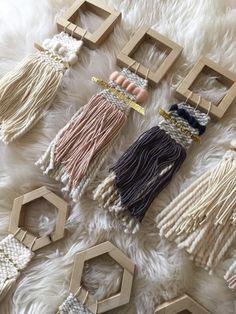 Mini woven wall art in ivory & reclaimed geometric by SunWoven