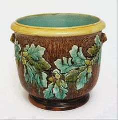 English Majolica Pottery Jardiniere / Planter Oak Tree Acorns - c. 19th Century, England